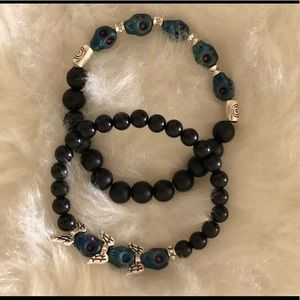 Jewelry - 🤩Set of 2 Onyx and Howlite 💀 Bracelets